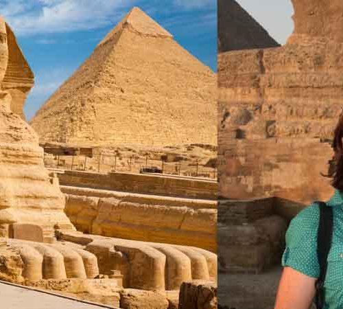 Tone Mjøberg og sfinksen i Egypt