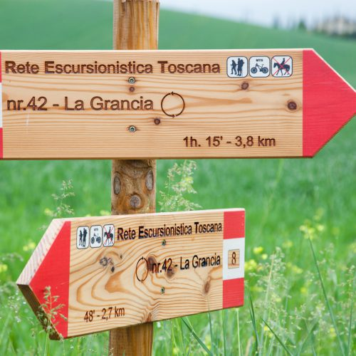 Skilt, vandring i Toscana, Italia