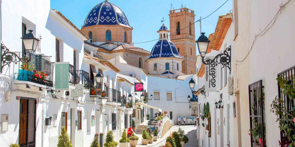 Altea, Spain - May 2019: A traditional mediterranean street in Altea old town, Spain